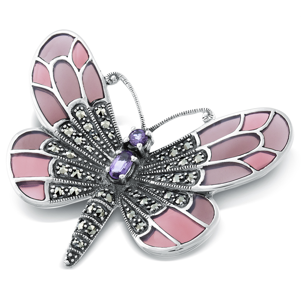Butterfly Brooch Amethyst Marcasite Amp Pink Enamel